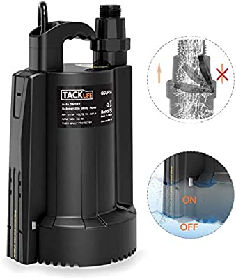 Submersible Water Pump, Tacklife Sump Pump, 1/3HP High Power Efficiency, Max. 2500 GPH,Up to 25ft, 10in Cord, 3/4 in Adapter Check Valve by TACKLIFE