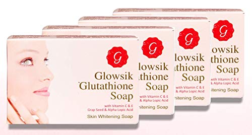 GLOWSIK GLUTATHION SOAP FOR SKIN WITH GRAPE SEED, VITAMIN C 100 GM EACH - PACK OF 4