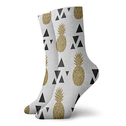 BEDKKJY Crew Sokken Goud Glitter Ananas Fruit Aangepaste Unisex Jurk Stocking Decoratie Sok voor Tieners