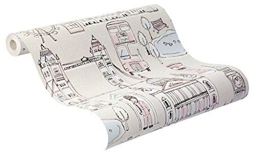 rasch Papier, Kinder-Tapete, London, beige, rosa, Bambino XVII, 245905, Pink, Weiß, Blau