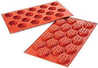 Silikomart Italian Silicone Mould SF143 Mini Waffel Round Shaped 18x11ml - Best Quality, Durable- Ideal For Both Chocolate...