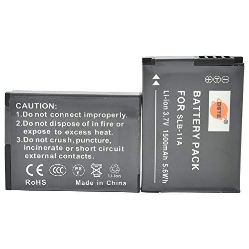 DSTE 2-Pieza Repuesto Batería para Samsung SLB-11A WB600 WB650 WB700 WB1000 WB2000 CL65 CL80 EX1 HZ25W HZ30W HZ35W HZ50W ST1000 ST5000 ST5500 TL240 TL320 TL350 TL500 Digital Camera