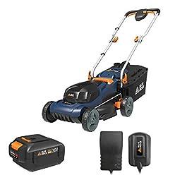 Tondeuses Rotatives Gazon BLUE RIDGE BR8761, 1 * 2.0Ah 36V Li-ion Batterie, Coupe Hauteur 20-70cm jusqu'à 200m², 30L Sac…