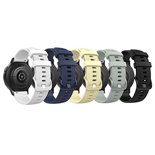 TiMOVO Correa Compatible con Samsung Galaxy Watch Active 2/Active/Galaxy Watch4/Galaxy Watch 3 41mm/Galaxy Watch 42mm, Banda Reemplazo Reloj Ajustable 5PZS Silicona Suave Textura Cuadros, Multicolor B