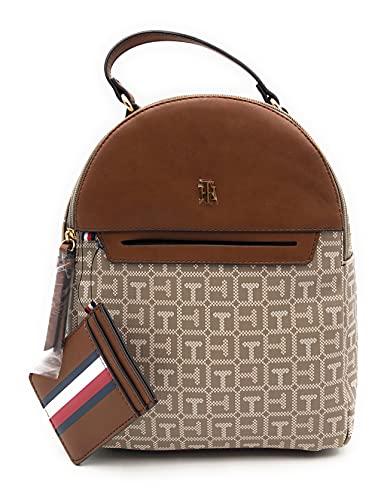 Tommy Hilfiger Mochila de ciudad, minirmochila, mochila de ocio, 20 x 20 x 10 cm, asa de transporte, equipaje de mano, color marrón/beige 6662