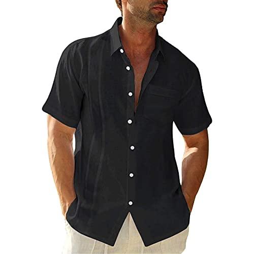 Men's Casual Button Down Shirts Short Sleeve Cotton Linen Tops Regular Fit T-Shirts Summer Beach Dress Shirt Black
