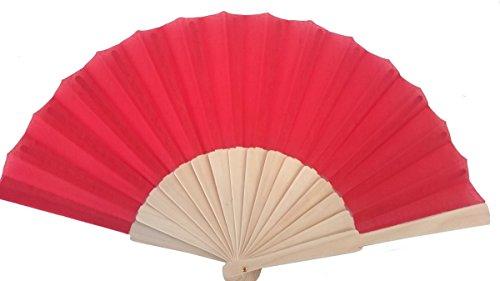 Libetui Handlicher Handfächer Stoff mit Holzgriff Fächer 1.0 heiße Sommertage Feste Party Hochzeit Hand Fan Hochzeitfächer Farbe Rot