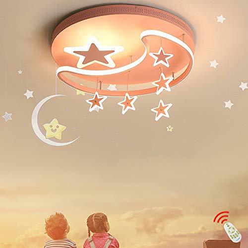 Luz de techo LED de dibujos animados Lámpara Colgante regulables para habitación de niños con control remoto jardín de infantes Lámparas estrella y luna Lámpara de dormitorio niños y niñas,Rosado,42cm