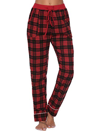 Aibrou Pantalones de Pijama Mujer 100% Algodon Pantalon Casual Largo Ropa de Dormir Suave Comodo y Suelto