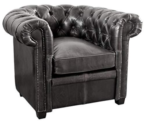 Casa Padrino Echtleder Sessel Vintage Schwarz 95 x 88 x H. 73 cm - Chesterfield Möbel