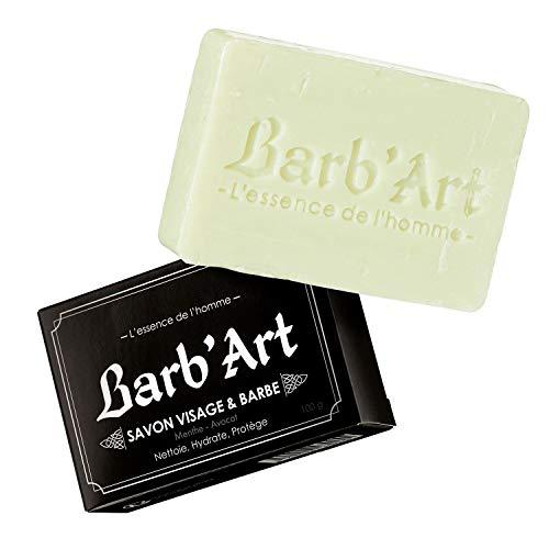 Barb'Art Savon Barbe/Visage Menthe Avocat 100 g