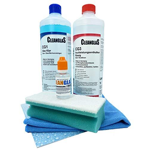 CleanglaS Premium-Reinigungsset Dusche | Made in Germany | Kalkentferner Extra Stark CG3 (1L Konzentrat mischbar bis zu 100L) | Nano-Versiegelung Dusche mit Lotus-Effekt (30ml) | Glasreiniger (1L)