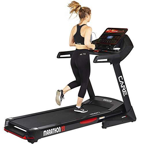 Care – Laufband Marathon 22 – Laufband 22 km/h – Geschwindigkeit verstellbar von 1 bis 22 km/h – 50 Programme – motorisierte Neigung – Brustgurt inklusive
