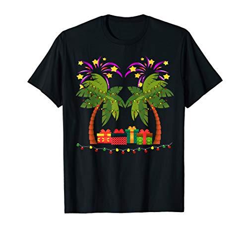 Weihnachtspalme mit Geschenken und Urlaubsleuchten T-Shirt