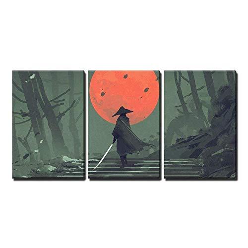 Wwjwf Home Decor Modulare Poster Bilder Wandkunst Stil Cartoon Samurai In Der Nacht Wald Leinwand Gemälde Gedruckt Für Wohnzimmer-50X70Cmx3-Kein Rahmen