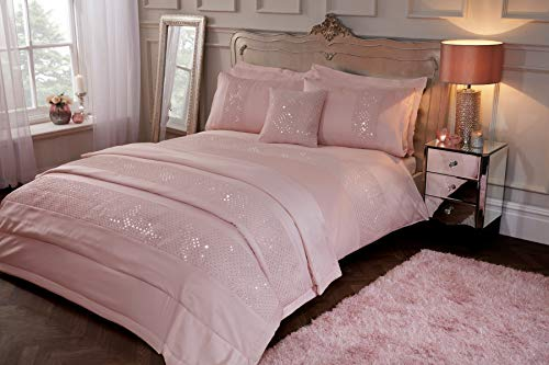 Sleepdown Subtle Sequins Duvet Cover Quilt Bedding Set with Pillow Cases Glitter Sparkle Glitz - Super King - Blush