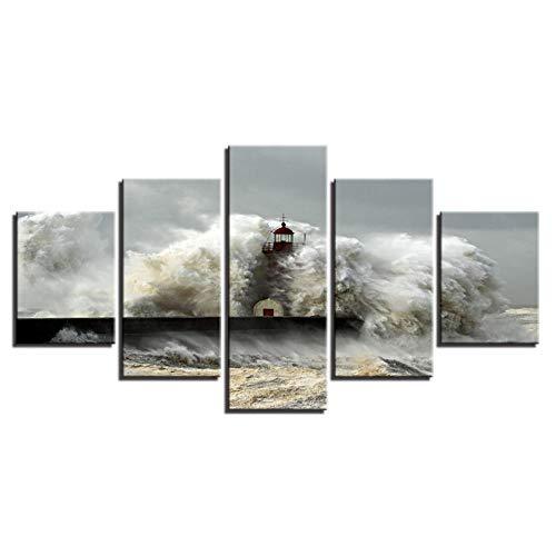 Jgophu Cuadros de Lienzo Sala de Estar Arte de la Pared Decoración Impresiones en HD 5 Piezas Impactos de la Ola del mar El Faro Paisaje Marino Pintura Cartel Marco 30x40x2 30x60x2 30x80cm