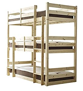 Three sleeper Bunkbed - 3ft Single Triple sleeper Bunk Bed - HEAVY DUTY