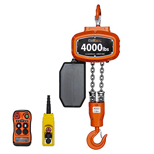 PROWINCH 4000 lb Electric Chain Hoist – Premium 115/230V Power Hoist Winch – Wireless Remote Controller - 20 ft Chain Pulley System – 2 Ton Load Capacity - Designed to Easily Lift Heavy Loads