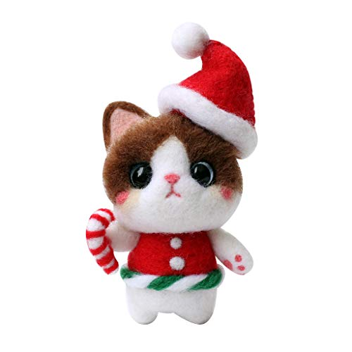 Bonarty 3D Cat with Christmas Hat Wool Needle Felting Kit Fine Wool, Felting Foam Mat, Needles, Instruction- for Arts & Crafts & Easy for Beginners