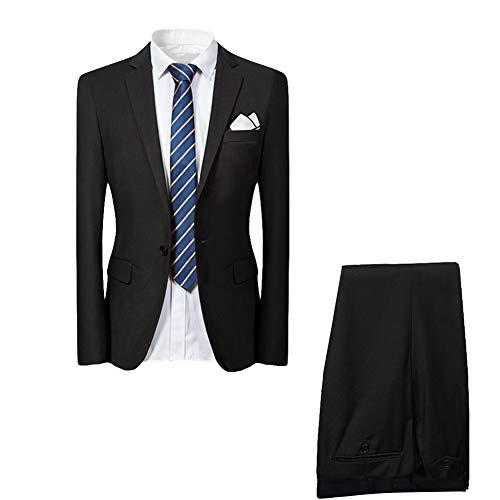 Allthemen Hochzeitsanzug Herren Anzug Slim Fit Herrenanzug Anzüge für Hochzeit Business Party Schwarz 3XL