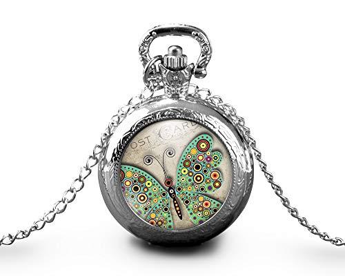 """Collar de reloj de bolsillo cabochon mariposas""""la postal"""", Regalo de N"""