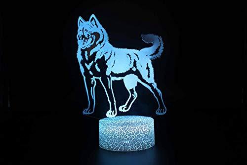 Lámpara 3D Ilusión óptica Luz Nocturna 7 Colores Decoracion LED lampara Control Táctil Control remoto Conector USB Decoracion de dormitorio, Lobo,niños regalo de navidad de cumpleaños