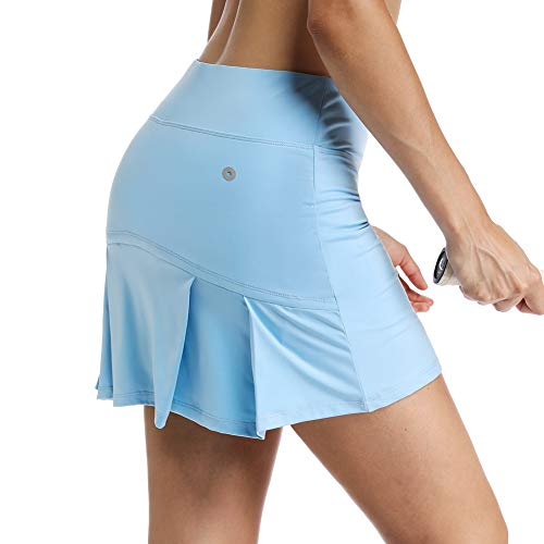 Ultrafun Women's Active Tennis Golf Skort Pleated Athletic Sports Running Skirt with Pockets and Shorts (Blue, Medium)