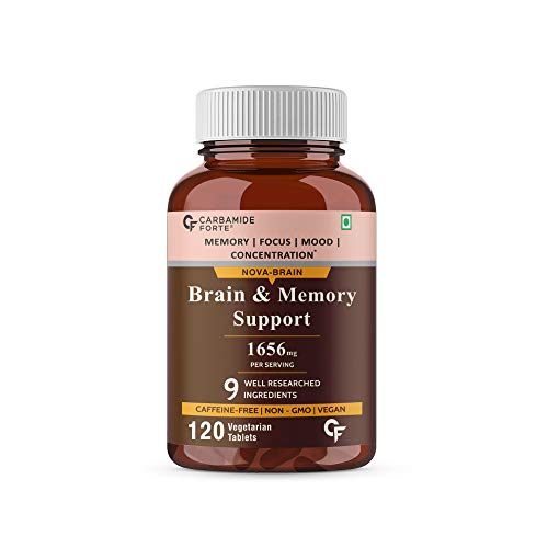 Carbamide Forte Brain Support Supplement for Memory & Focus with Brahmi Bacopa Monnieri, Ginkgo Biloba with Ashwagandha & Shankpushpi – 120 Veg Tablets