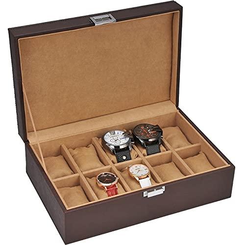 XIAOXIAO Caja De Almacenamiento De Reloj De Cuero Caja De Reloj De Cuarzo Organizador De Almacenamiento De Exhibición De Reloj Mecánico para Mujer Y Hombre, 10 Celdas