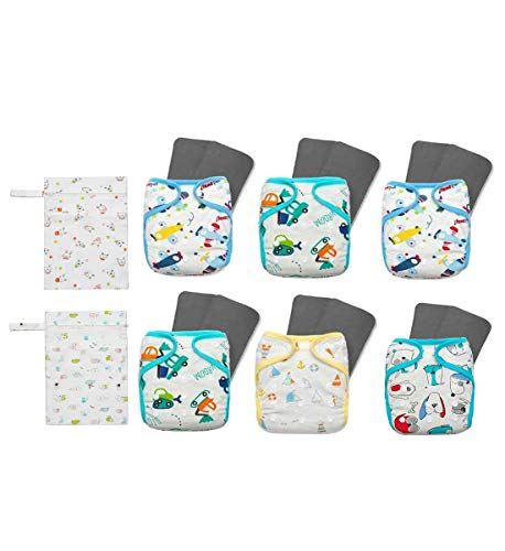 KaWaii Baby 6 Bamboo Charcoal Pocket Cloth Diaper with 12 Bamboo Charcoal...