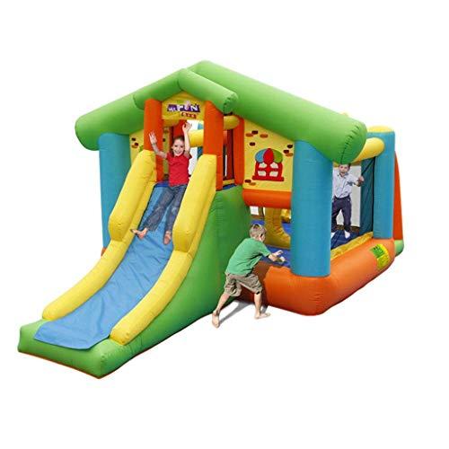 WRJY Castillo Hinchable Parque de Juguetes para niños Pequeño Castillo Hinchable Trampolín al Aire Libre Adecuado para Jugar con 4 niños (Color: Verde, Tamaño: 560 * 300 * 245 CM)