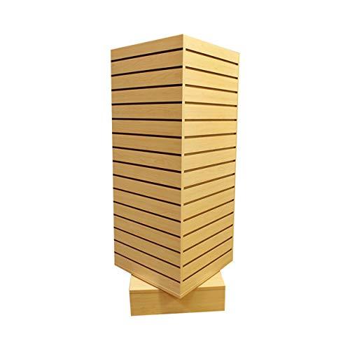 Prolinemax Maple 20'' x 20'' x 54'' Revolving Slatwall Floor Display Rotating Cube Tower 4 Sided Retail Fixture