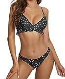 heekpek Bikinis Mujer Sexy Triangulo Bikini Brasileño Conjunto de Bikini Mujer Volantes Puntos Bikini Set Traje de Baño de Dos Pieza