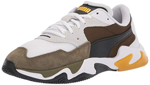 PUMA unisex adult Storm Sneaker, Puma White-dark Olive, 5.5 Women 4 Men US