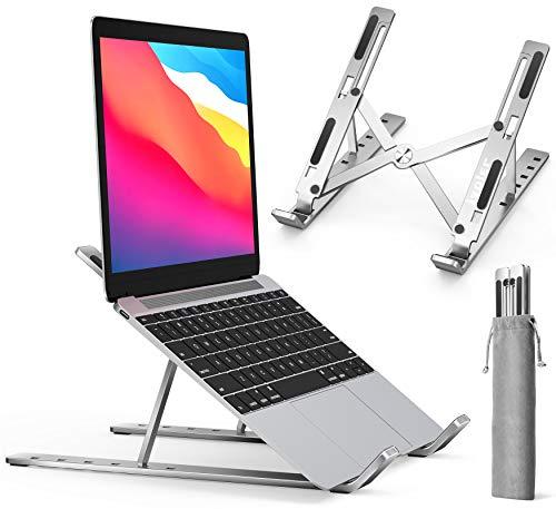 "ivoler Ergonomic Foldable Portable Adjustable Aluminum Laptop Computer Desktop Tablet Stand, Holder Compatible with MacBook Air Pro, Dell XPS, HP, Lenovo More 10-15.6"" Laptops"