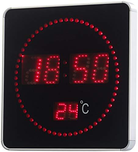 Lunartec Digitaluhr: Flache LED-Funk-Tisch- & Wanduhr, Temperatur-Anzeige, rote LEDs (LED Uhren)