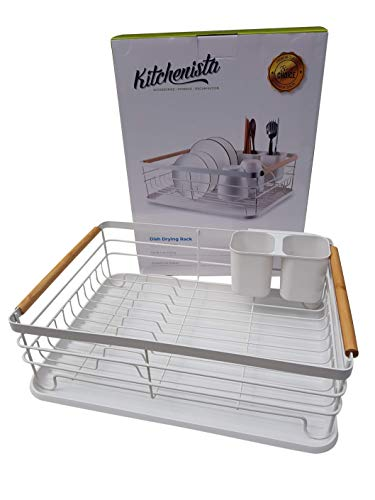 Kitchenista Metal Dish Rack with Drip Tray, Dish Drainer and Removable Cutlery holder - White & Bamboo