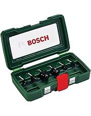 Bosch Set de 6 fresas de metal duro (para madera, vástago de 8 mm, accesorios para fresadora)