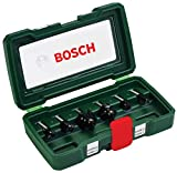 Bosch Set da 6 Pezzi di frese in metallo duro, per legno, Ø codolo 8 mm, accessorio fresatrice verticale