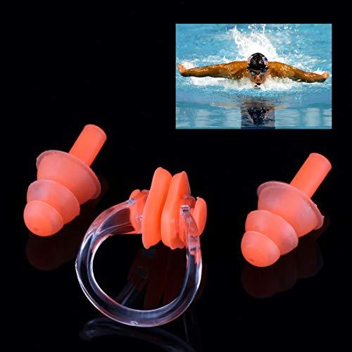 Kinderschwimmboje Soft-Silikon-Schwimmen-Nasen-Klipp und Ohr-Stecker-Set Earplug, zufällige Farbe Lieferung Asun (Color : Color1)