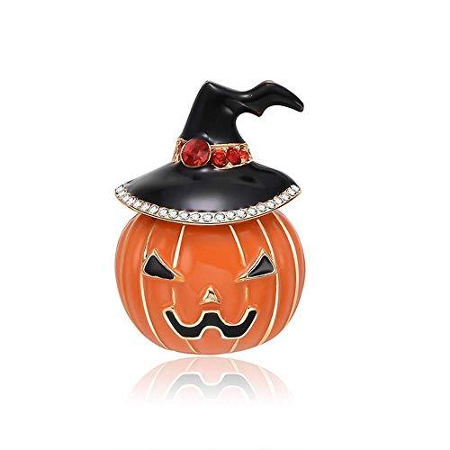 Vektenxi Halloween Brosche Pins, 1 Stück vergoldet Kürbis Laterne Kunsthandwerk Muster Kristall Strass Brosche Pin Schmuck für Frauen Männer Premium Qualität