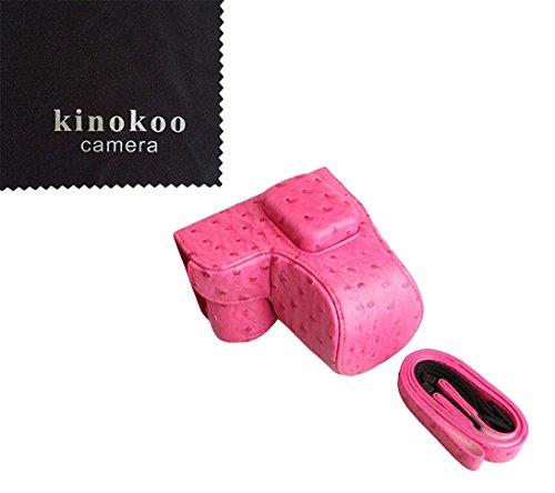kinokoo Samsung Kameratasche aus PU-Leder für Samsung NX3000 NX3300 und 16-50 mm Objektiv (rosered)