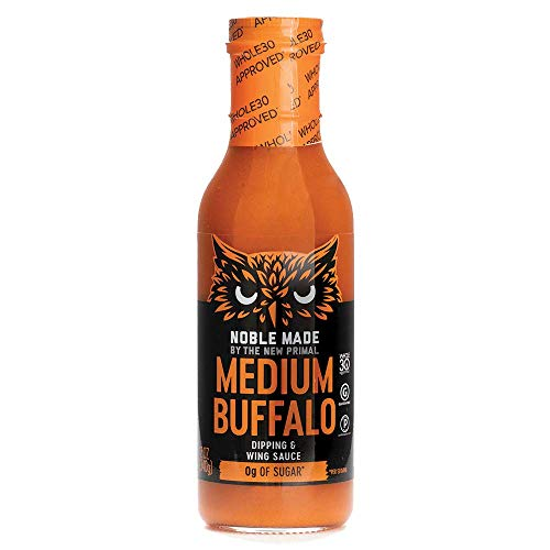 The New Primal Medium Buffalo Dipping & Wing Sauce, Whole30 & Paleo Approved, Gluten, Dairy & Soy Free, 12 Oz, Glass Bottle