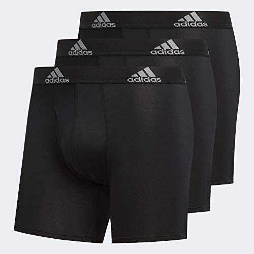 adidas Men's Performance Boxer Briefs Underwear (3-Pack), Black/Black Black/Black Black/Black, X-Large