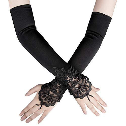 Xuhan 1920s Long Flapper Fingerless Evening Opera Satin Gloves for Women (Black-1)