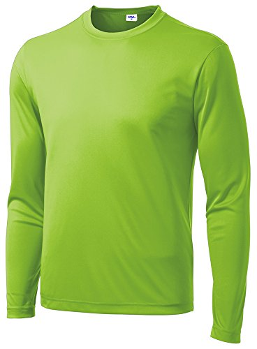 Opna Men's Long Sleeve Moisture Wicking Athletic Shirts for Workouts LYMSHK-L Lime