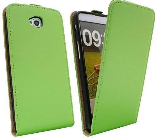 ENERGMiX Klapptasche Schutztasche kompatibel mit LG G PRO LITE DUAL SIM D686 in Grün Tasche Hülle