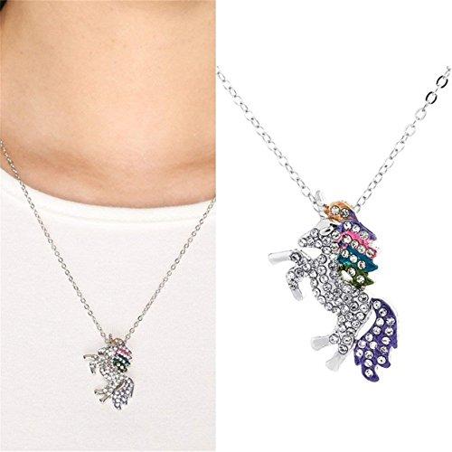 MiYan Collar de Unicornio Colgante para niña de Cristal cumpleaños