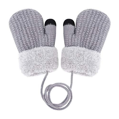 YSXY Süße Fäustlinge Baby Kleinkind Gestrickte Handschuhe für 1 2 3 4 5 6 Jahre Jungen Mädchen Winter Warme Strickhandschuhe mit schnur Fleece-Innenfutter (Grau-Einfarbig)